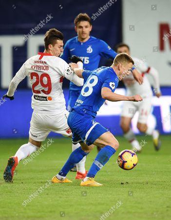 Ilya Kutepov of Spartak (left) and Evgeny Lutsenko of Dynamo (right) during the match.