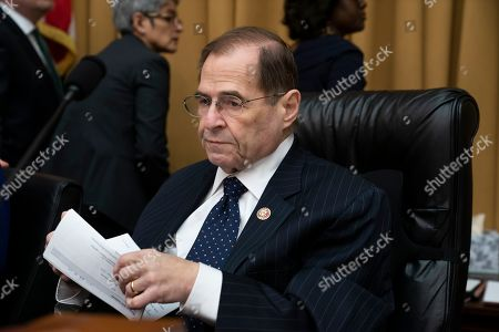 """House Judiciary Committee Chairman Jerrold Nadler, D-N.Y., works on a bill to tackle domestic abuse, on Capitol Hill in Washington, . Former acting-Attorney General Matthew Whitaker will meet behind closed doors with Nadler and the panel's top Republican, Doug Collins of Georgia, to clarify testimony he gave last month, answers which Nadler said were """"unsatisfactory, incomplete or contradicted by other evidence"""