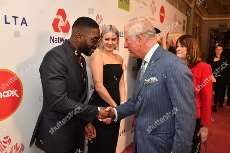 Prince Charles meets Tinie Tempah at the annual Prince's Trust Awards at the London Palladium.