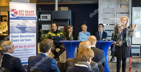 Sigrid Kaag (R), Dutch Minister of Foreign Trade talks to transport operators in the harbour of Rotterdam, about how to be prepared for the Brexit, in Rotterdam, The Netherlands, 13 March 2019. The United Kingdom is officially due to leave the European Union on 29 March 2019, two years after triggering Article 50 in consequence to a referendum.