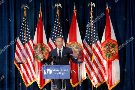 Stock Photo of Former Starbucks CEO Howard Schultz gives a speech at Miami Dade College in Miami, . The 65-year-old billionaire gave details on what an independent presidency could look like despite not yet deciding whether to enter the White House race himself