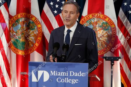 Former Starbucks CEO Howard Schultz gives a speech at Miami Dade College in Miami, . The 65-year-old billionaire gave details on what an independent presidency could look like despite not yet deciding whether to enter the White House race himself
