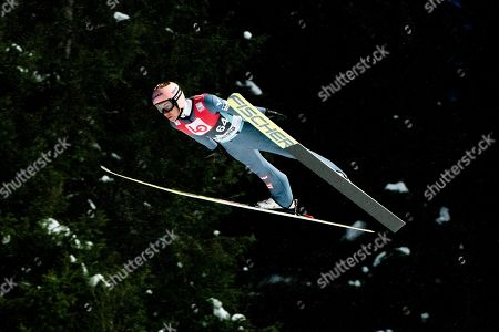 Stefan Kraft of Austria during the qualification for the FIS World Cup Ski Jumping competition, at Granasen, Norway, 13 March, 2019.