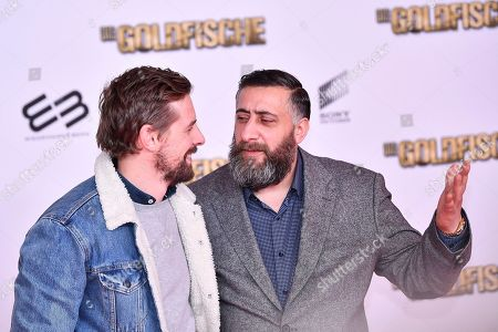Stock Picture of Klaas Heufer-Umlauf (L) and Kida Khodr Ramadan arrive for the premiere of 'Die Goldfische' (lit.: The Goldfish) in Munich, Germany, 13 March 2019. The movie opens in German theaters on 21 March.