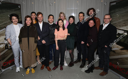 Stock Picture of (L-R)Jay Yu(Actor), Katie Leung (Actor), Quanna Luo Masterson (actor)Adrian Sturges(Producer), David Tse (actor), Naomi Yang (actor)Sophie Gardiner (Exec. producer), Lucy Kirkwood, Alessandro Nivola (Lead Actor), Michael Keillor (Director) ?and Colin Callender (Exec Producer).