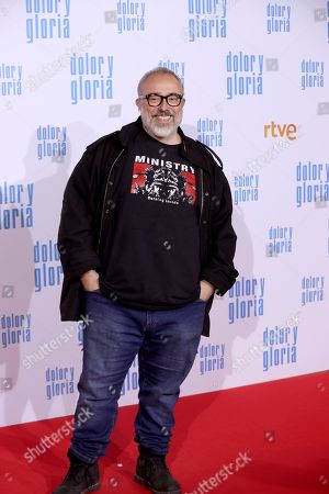 Alex de la Iglesia attends the premiere of 'Dolor y gloria' (Pain and Glory) at the Capitol Cinemas in Madrid, 13 March 2019. The movie opens in Spanish theaters on 22 March.