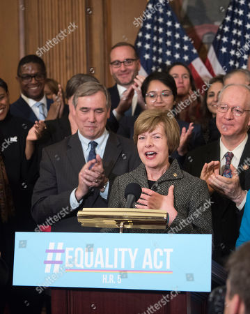 Sen. Tammy Baldwin, D-Wisc., speaks during the Equality Act Re-Introduction news conference in the Capitol on in Washington