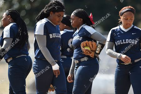 South Carolina State's pitcher Jada Lake, right center, during an NCAA softball game on in Baltimore