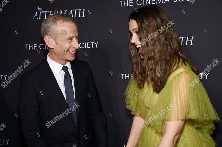 "James Kent, Keira Knightley. Director James Kent, left, and actress Keira Knightley attend a special screening of Fox Searchlight Pictures' ""The Aftermath"" at The Whitby Hotel, in New York"