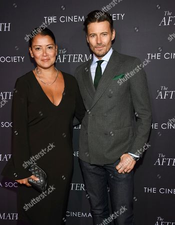 """Keytt Lundqvist, Alex Lundqvist. Keytt Lundqvist, left, and Alex Lundqvist attend a special screening of Fox Searchlight Pictures' """"The Aftermath"""" at The Whitby Hotel, in New York"""