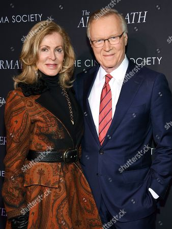 "Ellen Scarborough, Chuck Scarborough. WNBC news anchor Chuck Scarborough and wife Ellen attend a special screening of Fox Searchlight Pictures' ""The Aftermath"" at The Whitby Hotel, in New York"