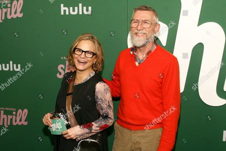 """Amy Sedaris, Todd Oldham. Amy Sedaris, left, and Todd Oldham, right, attend the premiere of Hulu's """"Shrill"""" at the Walter Reade Theater, in New York"""