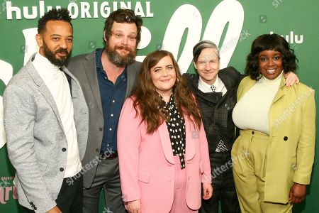 """Ian Owens, Luka Jones, Aidy Bryant, John Cameron Mitchell, Lolly Adefope. Ian Owens, from left, Luka Jones, Aidy Bryant, John Cameron Mitchell and Lolly Adefope attends the premiere of Hulu's """"Shrill"""" at the Walter Reade Theater, in New York"""