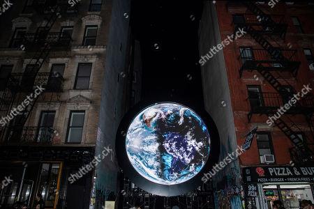 "Editorial image of Sebastian ErraZuriz Reveals Public Artwork ""blu Marble"", New York, USA - 13 Mar 2019"