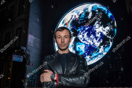 "Editorial photo of Sebastian ErraZuriz Reveals Public Artwork ""blu Marble"", New York, USA - 13 Mar 2019"