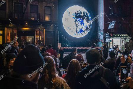 "Editorial picture of Sebastian ErraZuriz Reveals Public Artwork ""blu Marble"", New York, USA - 13 Mar 2019"