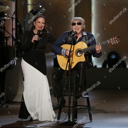 Gloria Estefan, Jose Feliciano. Award recipient Gloria Estefan, left, and musician Jose Feliciano perform onstage during the Library of Congress Gershwin Prize tribute concert held at DAR Constitution Hall, in Washington