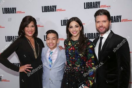 """Doreen Montalvo, Kevin Tellez, Ana Villafane, Mauricio Martinez. Cast members from the broadway play """"On Your Feet"""" Doreen Montalvo, from left, Kevin Tellez, Ana Villafane and Mauricio Martinez attend the Library of Congress Gershwin Prize tribute concert held at DAR Constitution Hall, in Washington"""