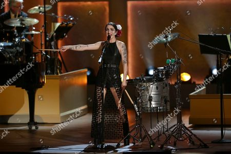Emily Estefan performs on stage during the Library of Congress Gershwin Prize tribute concert held at DAR Constitution Hall, in Washington