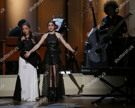Gloria Estefan, Emily Estefan. Award recipient Gloria Estefan, left, and daughter Emily Estefan perform on stage during the Library of Congress Gershwin Prize tribute concert held at DAR Constitution Hall, in Washington