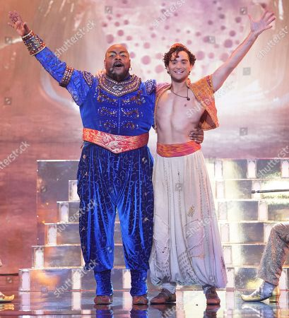 The Genie [Trevor Dion Nicholas] and Aladdin [Matthew Croke]