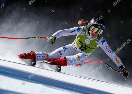 Italy's Sofia Goggia competes during the women's super G race at the alpine ski World Cup finals, in Soldeu, Andorra