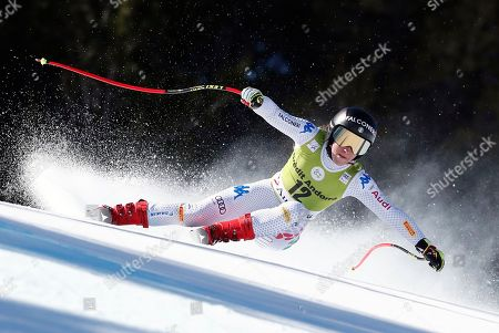 Sofia Goggia of Italy in action during the Women's Super G race of the FIS Alpine Skiing World Cup finals in Soldeu-El Tarter, Andorra, 14 March 2019.