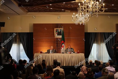 The new Algerian Prime Minister Noureddine Bedoui (R) and Deputy Prime Minister Ramtane Lamamra (L) participate in a press conference in Algiers, Algeria, 14 March 2019. Former Algerian Prime Minister Ahmed Ouyahia resigned from his post after Algerian President Abdelaziz Bouteflika announced that he would not stand for a fifth term, due to wide-spread protests in the run-up to national elections which were scheduled for 18 April, and are now postponed indefinitely.