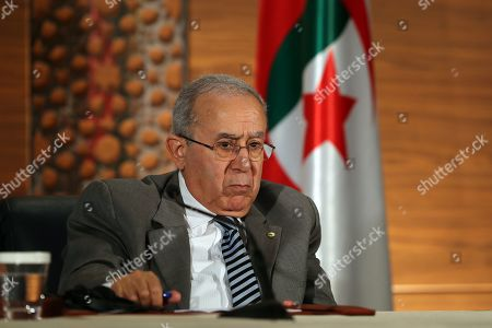 Algerian Deputy Prime Minister Ramtane Lamamra attends a press conference in Algiers, Algeria, 14 March 2019. Former Algerian Prime Minister Ahmed Ouyahia resigned from his post after Algerian President Abdelaziz Bouteflika announced that he would not stand for a fifth term, due to wide-spread protests in the run-up to national elections which were scheduled for 18 April, and are now postponed indefinitely.