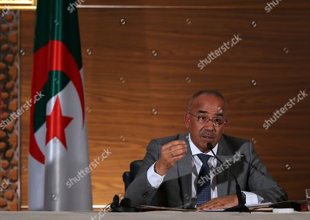 The new Algerian Prime Minister Noureddine Bedoui attends a press conference in Algiers, Algeria, 14 March 2019. Former Algerian Prime Minister Ahmed Ouyahia resigned from his post after Algerian President Abdelaziz Bouteflika announced that he would not stand for a fifth term, due to wide-spread protests in the run-up to national elections which were scheduled for 18 April, and are now postponed indefinitely.