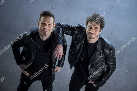 "Ville Virtanen aka Ville Virtanen (L) and vocalist Sebastian Rejman, Finnish entry for the Eurovision Song Contest 2019, pose in Turku, Finland, on March 1, 2019. Producer/ DJ Ville Virtanen, creator of the iconic ""Sandstorm"", was chosen to represent Finland in the Eurovision Song Contest with featured vocalist Sebastian Rejman. The representing song will be chosen on live TV broadcast on March 2."