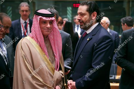 """Adel al-Jubeir, Saad Hariri. Saudi Arabia's Foreign Minister Adel al-Jubeir, left, talks to Lebanon's Prime Minister Saad Hariri during a Syria donors conference at the European Council headquarters in Brussels,. The European Union's top diplomat says the EU expects """"significant pledges"""" for Syria at a donor conference, as the bloc seeks to keep the 8-year conflict in the international spotlight"""
