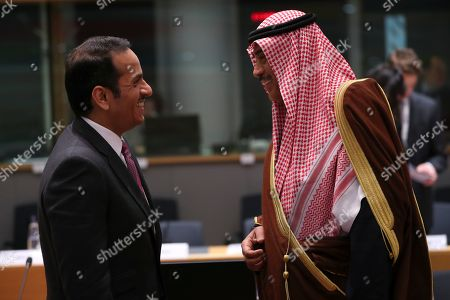 "Sheikh Mohammed bin Abdulrahman bin Jassim Al-Thani, Sheikh Sabah Al-Khalid Al-Sabah. Qatar's Foreign Minister Sheikh Mohammed bin Abdulrahman bin Jassim Al-Thani, left, talks to Kuwait's Foreign Minister Sheikh Sabah Al-Khalid Al-Sabah during a Syria donors conference at the European Council headquarters in Brussels,. The European Union's top diplomat says the EU expects ""significant pledges"" for Syria at a donor conference, as the bloc seeks to keep the 8-year conflict in the international spotlight"