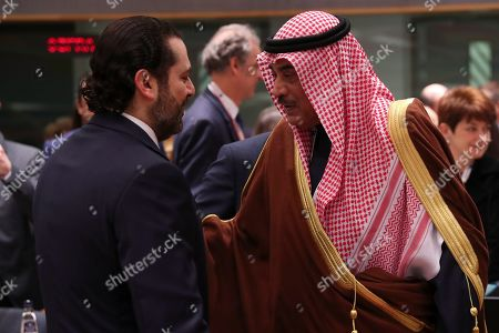 """Saad Hariri, Sheikh Sabah Al-Khalid Al-Sabah. Kuwait's Foreign Minister Sheikh Sabah Al-Khalid Al-Sabah, right, talks to Lebanon's Prime Minister Saad Hariri during a Syria donors conference at the European Council headquarters in Brussels,. The European Union's top diplomat says the EU expects """"significant pledges"""" for Syria at a donor conference, as the bloc seeks to keep the 8-year conflict in the international spotlight"""