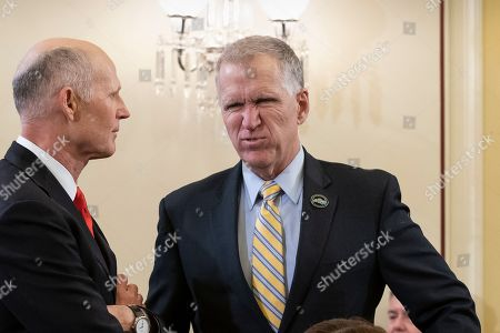 Thom Tillis, Rick Scott. Sen.Thom Tillis, R-N.C., center, speaks with Sen. Rick Scott, R-Fla., before a Senate Armed Services subcommittee hearing, on Capitol Hill in Washington. Tillis has said he will vote to block President Donald Trump's border emergency as some GOP senators plan to join Democrats in a rebuke of Trump's declaration of a national emergency at the Mexican border