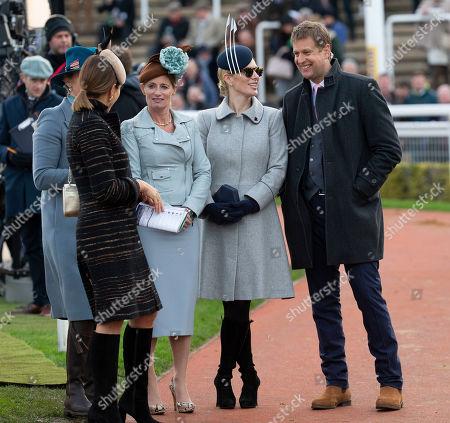 Zara Tindall jokes with ITV racing presenter Ed Chamberlin.