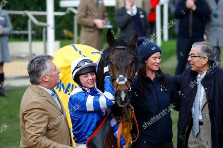 Bryony Frost with Frodon after victory in the Ryanair Chase at Cheltenham. Also pictured l-r Paul Nicholls, lass Michelle Kramer and owner Paul Vogt [right].