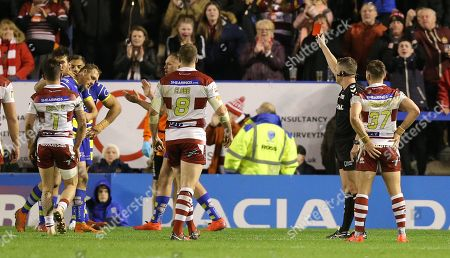 Ben Westwood of Warrington Wolves is sent off near the end of the match by Referee Ben Thaler