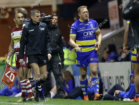 Ben Westwood of Warrington Wolves is sent off near the end of the match by Referee Ben Thaler and leaves the field
