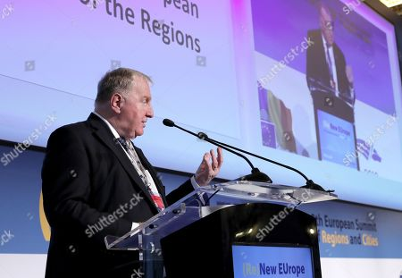 The President of the European Committee of the Regions Karl-Heinz Lambertz delivers a speech at the opening session of the 8th European Summit of Regions and Cities called '(Re)New - EUrope' held at the Romanian parliament Headquarters in Bucharest, Romania, 14 March 2019. The 8th European Summit of Regions and Cities is gathering all the EU national, local and regional leaders from across Europe to discuss the future of the European Union. According to the schedule, at the end of the summit a declaration by local and regional leaders on the future of Europe will be adopted in order to share their voice ahead of the European elections.