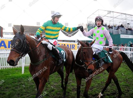 CHELTENHAM. ANY SECOND NOW and Derek O'Connor congratulated by PATRICK MULLINS after win for trainer Ted Walsh.