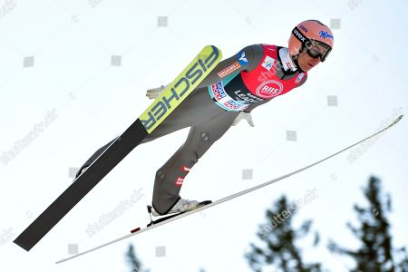 Stefan Kraft of Austria in action during the FIS Ski Jumping World Cup in Trondheim, Norway, 14 March 2019. Kraft took the third place.