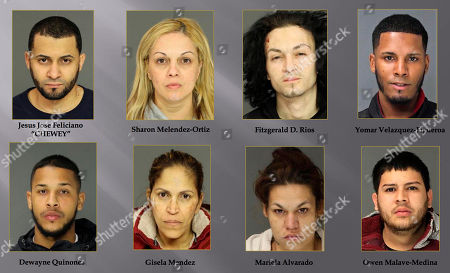 This undated combination of photos provided by the Berks County District Attorney's Office shows from top left, Jesus Jose Feliciano, Sharon Melendez-Ortiz, Fitzgerald D. Rios, Yomar Velazquez-Figueroa, Dewayne Quinones, Gisela Mendez, Mariela Alvarado, and Owen Malave-Medina. Prosecutors announced on Thursday, March, 14, 2019, the federal indictment of the alleged members of a violent drug organization blamed for as many as eight homicides in in the Reading, Pa. area