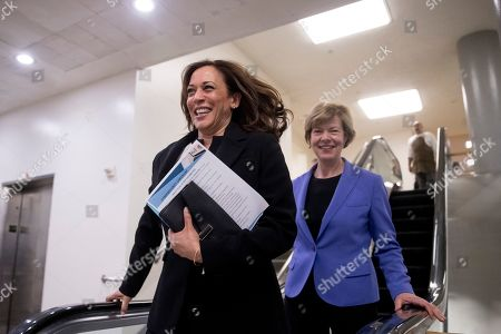 Kamala Harris, Tammy Baldwin. Sen. Kamala Harris, D-Calif., left, and Sen. Tammy Baldwin, D-Wis., right, leave the U.S. Capitol Building on Capitol Hill in Washington