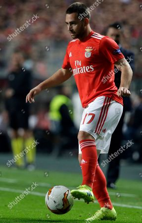 Benfica's Andrija Zivkovic controls the ball during the Europa League round of 16, second leg, soccer match between Benfica and Dinamo Zagreb at the Luz stadium in Lisbon
