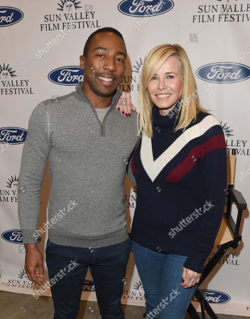 Scenario PR President Steven Wilson and Chelsea Handler attend the 'Coffee Talk' Q & A moderated by George Prentice during the 2019 Sun Valley Film Festival presented by Ford, held at the Argyros Theatre in Sun Valley, ID