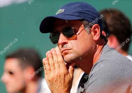 Coach of Milos Raonic of Canada, Fabrice Santoro of France