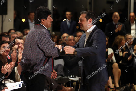 President of Bolivia Evo Morales (L) and  Greek Prime Minister Alexis Tsipras (R) during a conference in Athens, Greece, 14 March 2019. Reports state that Evo Morales, is on two day visit to Athens on 14 - 15 March 2019 where will be keynote speaker at an event at the Stavros Niarchos Foundation Cultural Centre (SNFCC).
