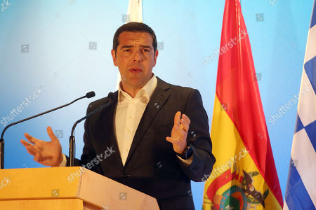Greek Prime Minister Alexis Tsipras speaking during a conference with President of Bolivia Evo Morales (unseen) in Greece, 14 March 2019. Reports state that Evo Morales, is on two day visit to Athens on 14 - 15 March 2019 where will be keynote speaker at an event at the Stavros Niarchos Foundation Cultural Centre (SNFCC).