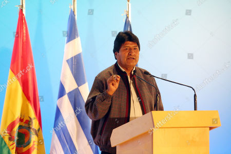 President of Bolivia Evo Morales speaking during a conference with Greek Prime Minister Alexis Tsipras (unseen) in Athens, Greece, 14 March 2019. Reports state that Evo Morales, is on two day visit to Athens on 14 - 15 March 2019 where will be keynote speaker at an event at the Stavros Niarchos Foundation Cultural Centre (SNFCC).